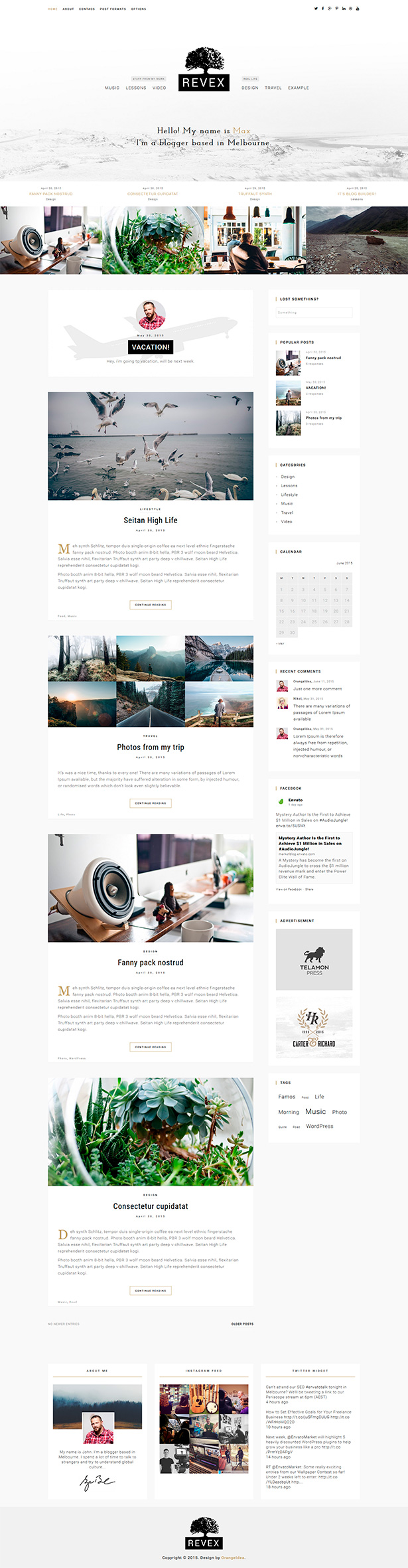 REVEX - Personal Blog HTML Template